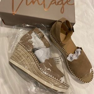 Brown, White and Tan Espadrille Wedge